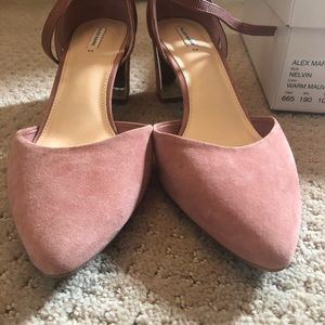 Alex Marie Shoes - Pink suede block 2 inch heels